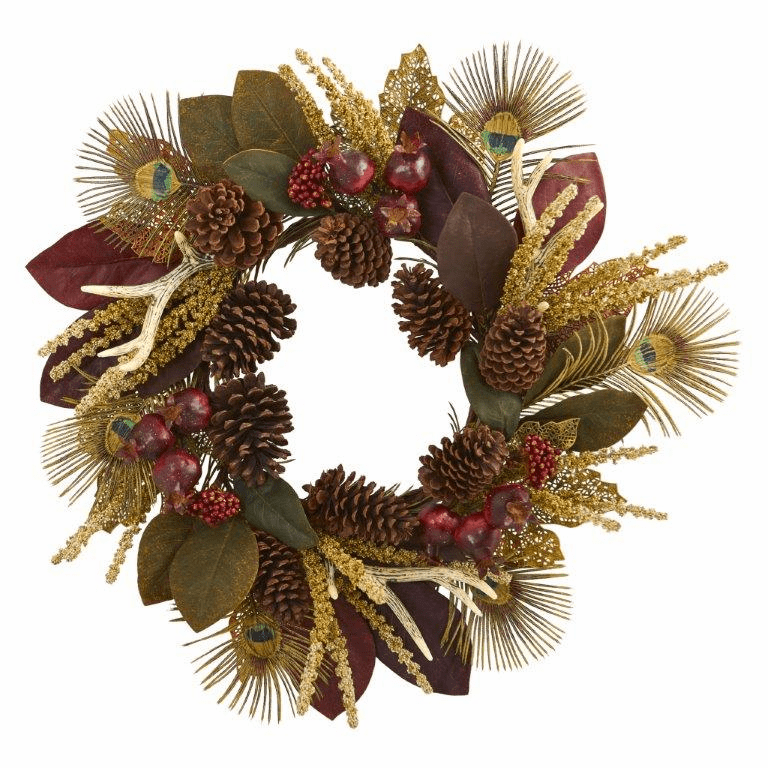 27� Magnolia Leaf, Berry, Antler and Peacock Feather Artificial Wreath
