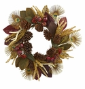 27� Magnolia Leaf, Berry, Antler and Peacock Feather Artificial Wreath - N/A