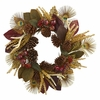 "27"" Magnolia Leaf, Berry, Antler and Peacock Feather Artificial Wreath"