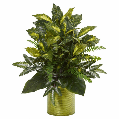 """27"""" Mixed Greens in Green Tin Planter Artificial Plant"""