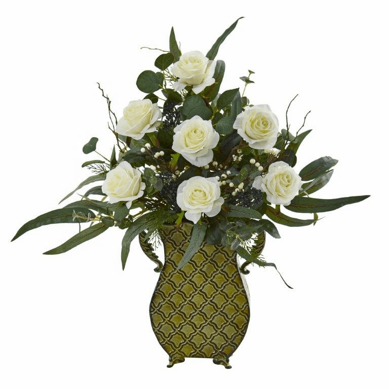 27� Rose and Eucalyptus Artificial Plant in Metal Planter