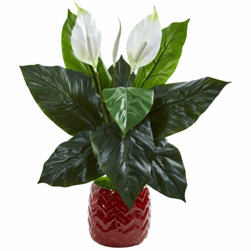 "27"" Spathifyllum Artificial Plant in Red Planter"