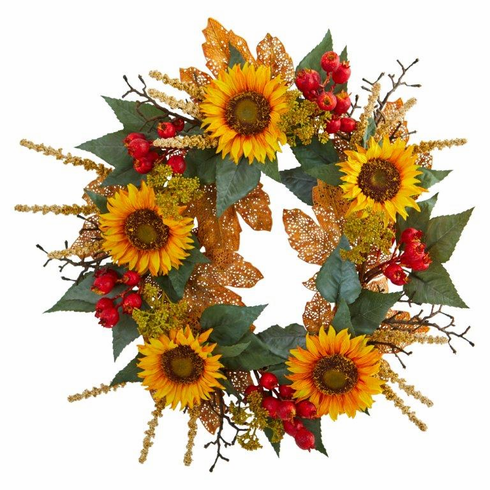 "27"" Sunflower Berry Artificial Wreath"