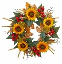 27� Sunflower Berry Artificial Wreath