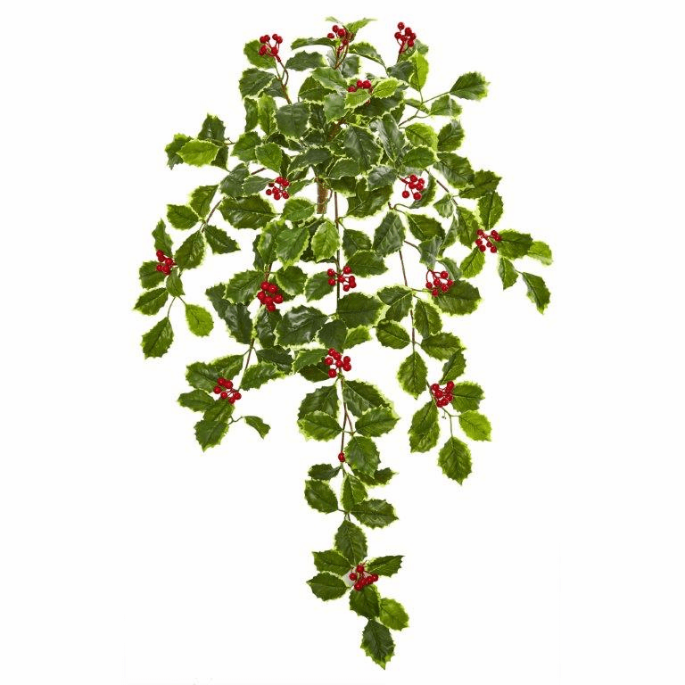 27� Variegated Holly Leaf w/Berries Hanging Bush Artificial Plant (Set of 3) (Real Touch)