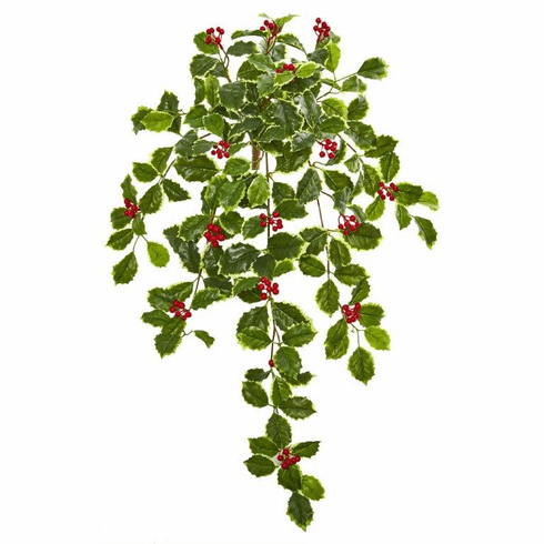 """27"""" Variegated Holly Leaf w/Berries Hanging Bush Artificial Plant (Set of 3) (Real Touch)"""