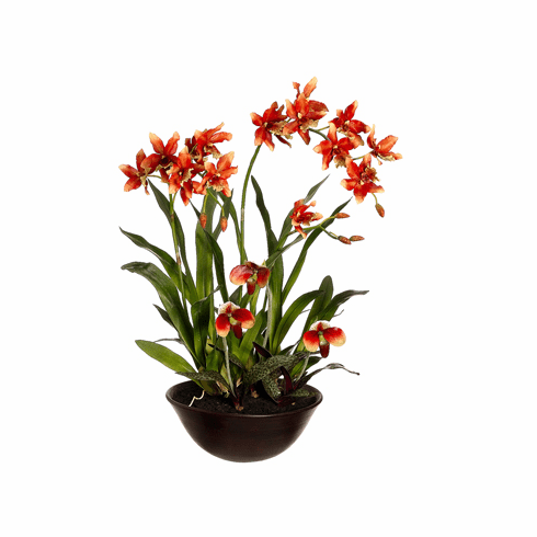 """28"""" Artificial Oncidium silk flowers and Lady's Slipper Orchid Arrangement in Terra Cotta Bowl"""