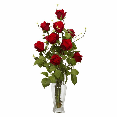 "28"" Artificial Rosebud Silk Flower Arrangement in Vase"
