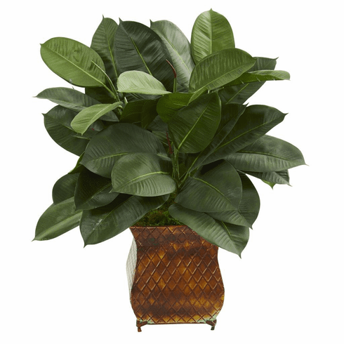 "28"" Artificial Rubber Plant in Brown Metal Planter"