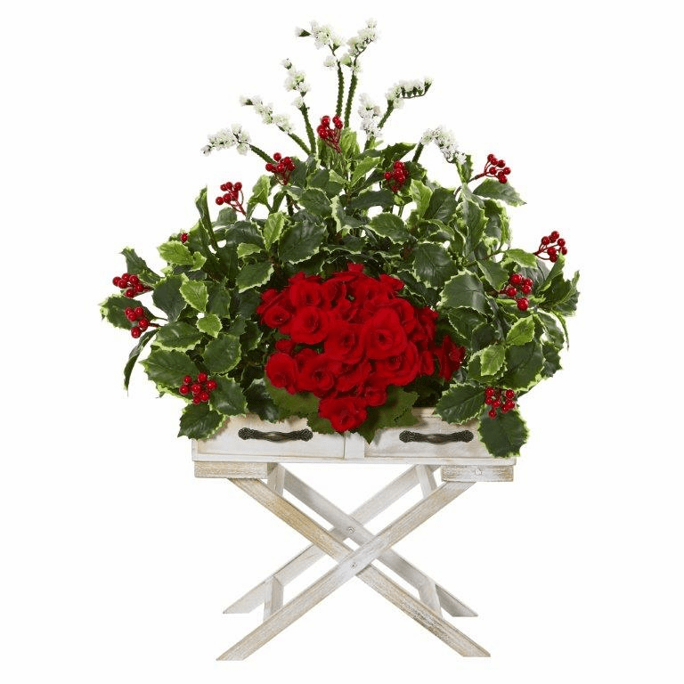 28� Begonia and Holly Leaf Artificial Arrangement in Drawer Planter -