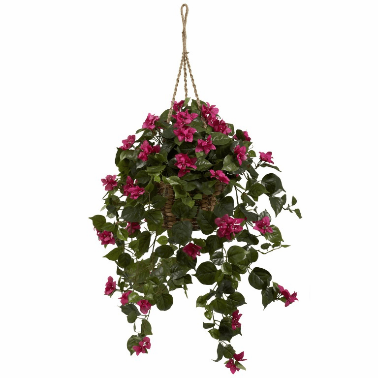 "28"" Bougainvillea Silk Hanging Basket"