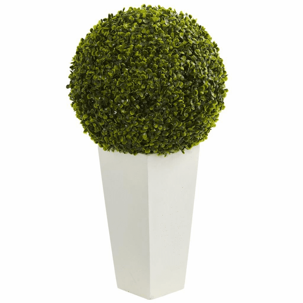 28� Boxwood Topiary Ball Artificial Plant in White Tower Planter (Indoor/Outdoor)