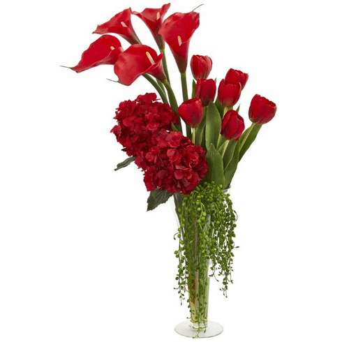 "28"" Calla, Hydrangea & Tulips Artificial Arrangement in Flared Vase - Red"