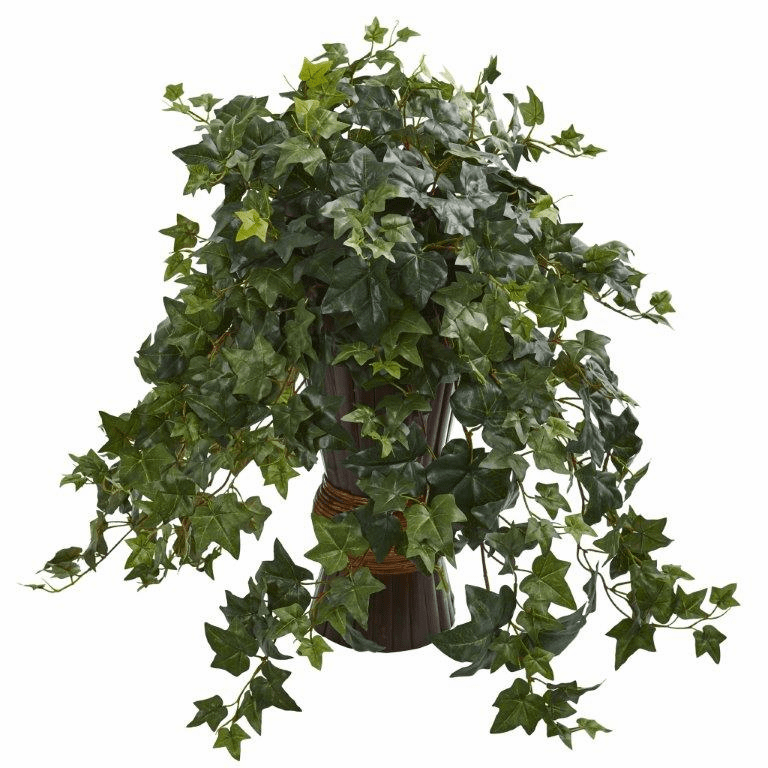 "28"" Ivy Artificial Plant in Bamboo Planter"