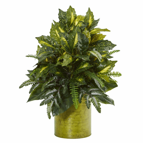 """28"""" Mixed Greens Artificial Plant in Green Tin Planter"""