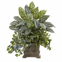 """28"""" Mixed Silver Queen, Wandering Jew & Fittonia w/Planter"""