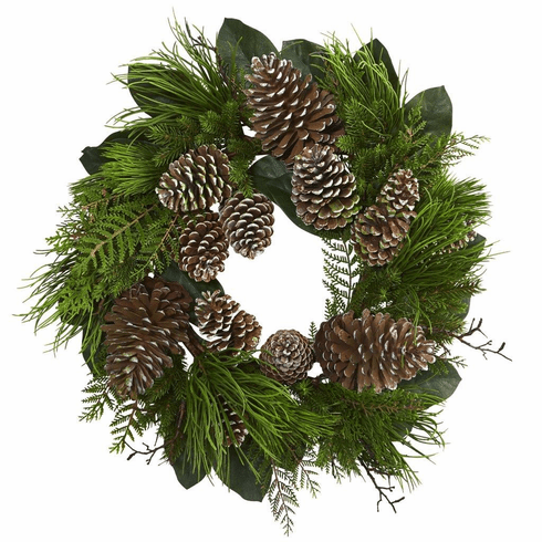 "28"" Pine Cone and Pine Artificial Wreath"