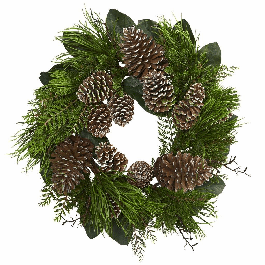 28� Pine Cone and Pine Artificial Wreath