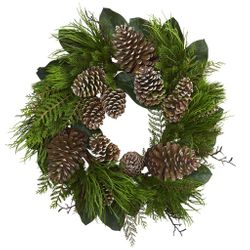 """28"""" Pine Cone and Pine Artificial Wreath"""