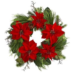 """28"""" Poinsettia Flower and Pine Artificial Wreath"""