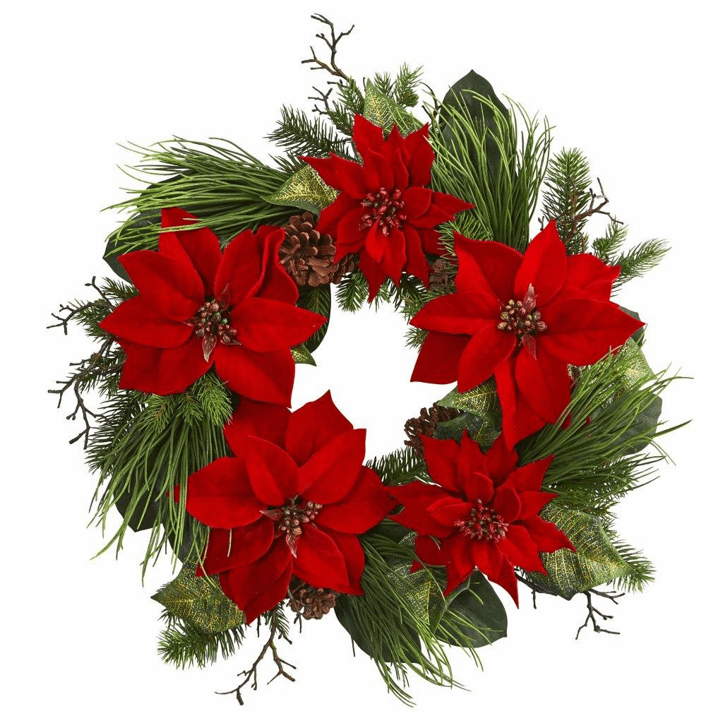 28� Poinsettia Flower and Pine Artificial Wreath