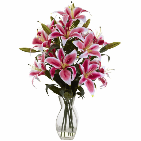 "28"" Rubrum Lily Artificial Flower Arrangement in Glass Vase"