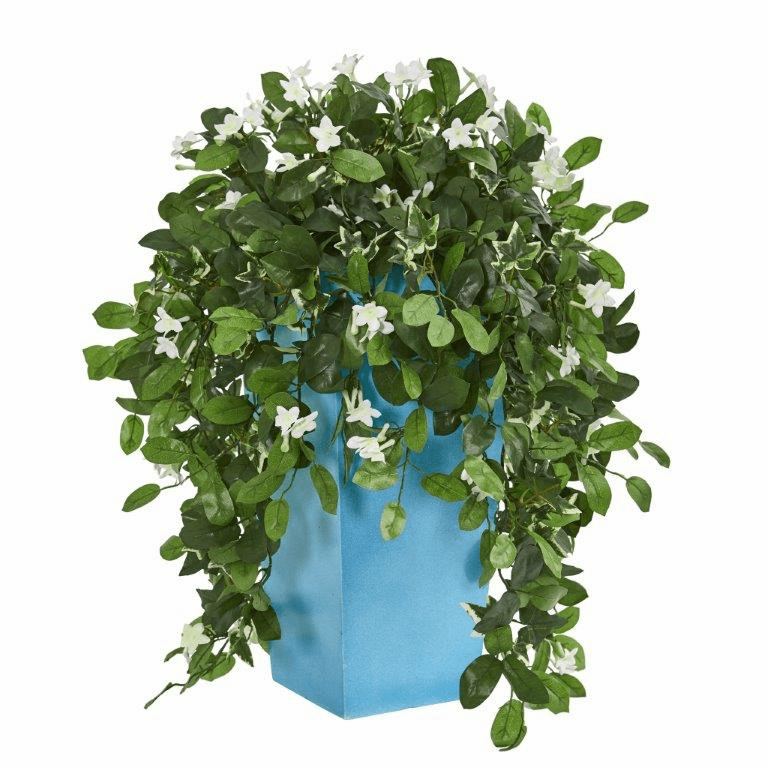 28� Stephanotis Artificial Plant in Turquoise Planter