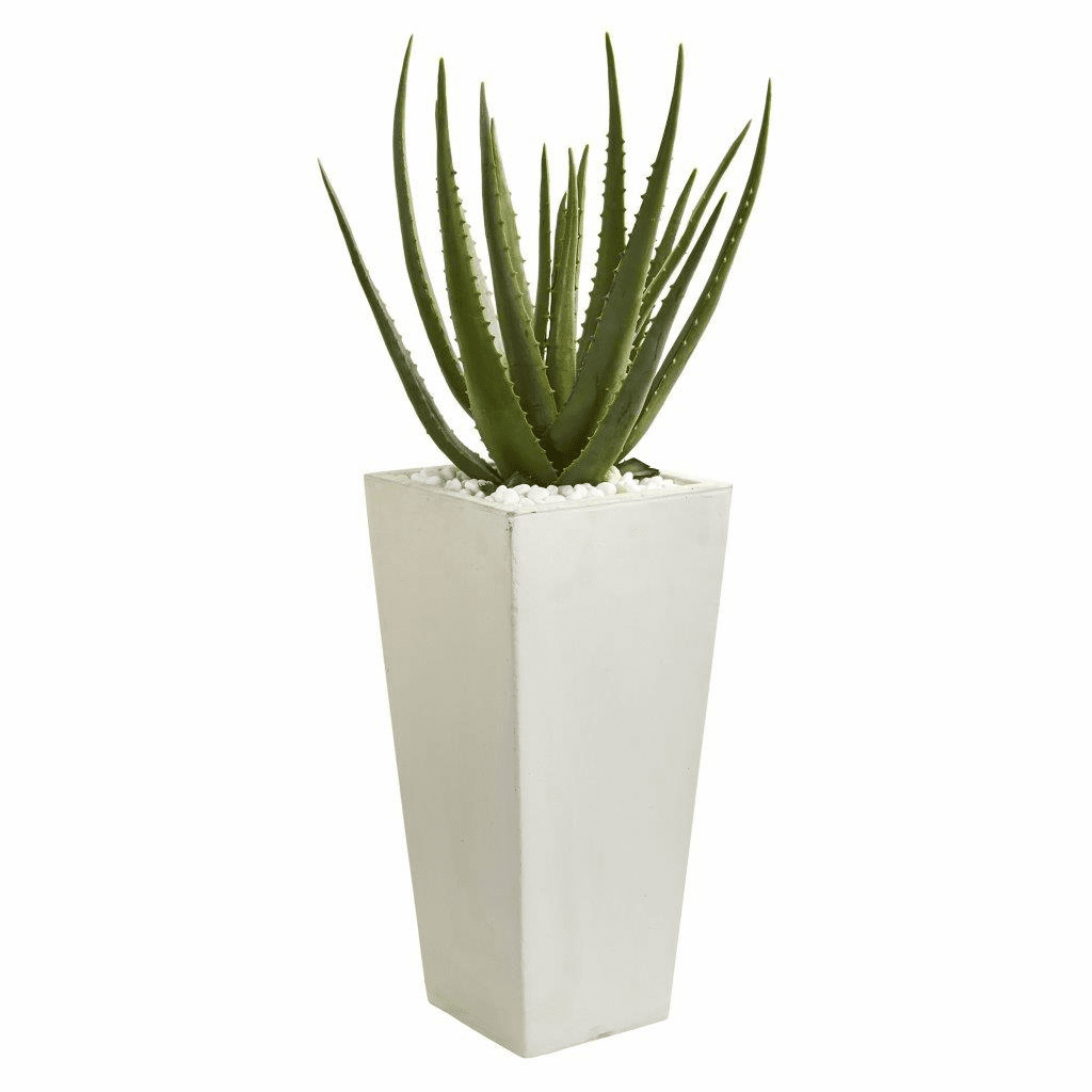 29� Aloe Artificial Plant in White Planter