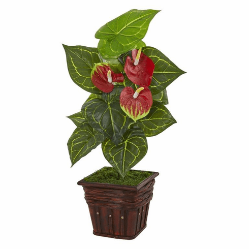 "29"" Anthurium Artificial Plant in Decorative Planter (Real Touch)"