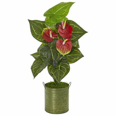 """29"""" Anthurium Artificial Plant in Metal Planter (Real Touch)"""