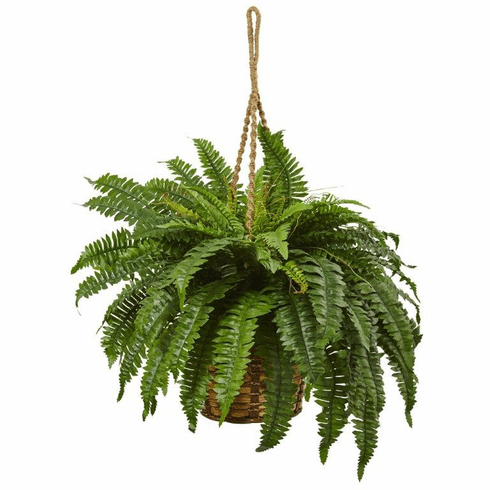 "29"" Artificial Boston Fern Hanging Bush in Basket"
