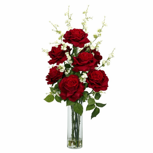 "29"" Artificial Roses with Cherry Blossoms Silk Flower Arrangement in Vase"
