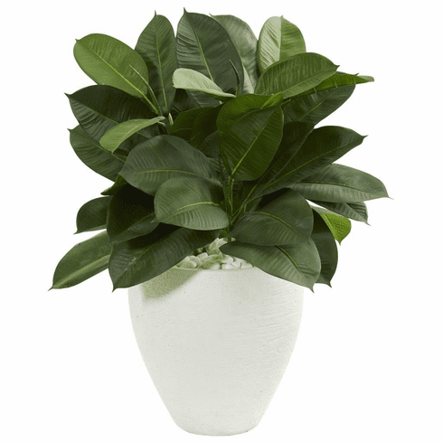 "29"" Artificial Rubber Plant in White Planter"
