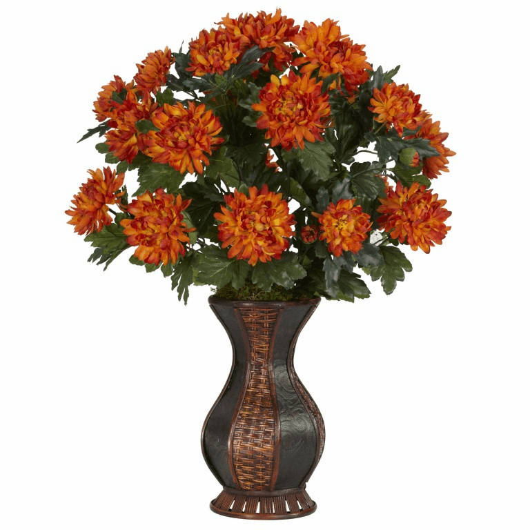 "29"" Artificial Spider Mum Flower Arrangement  with Urn Silk Plant"