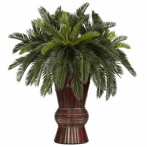 """29"""" Cycas with Bamboo Vase Silk Plant"""