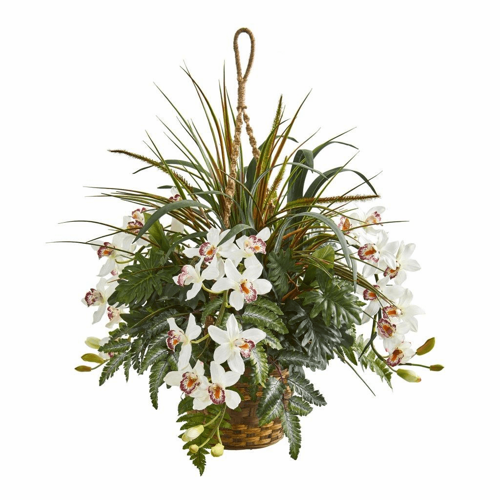 29� Cymbidium Orchid and Mixed Greens Artificial Plant Hanging Basket