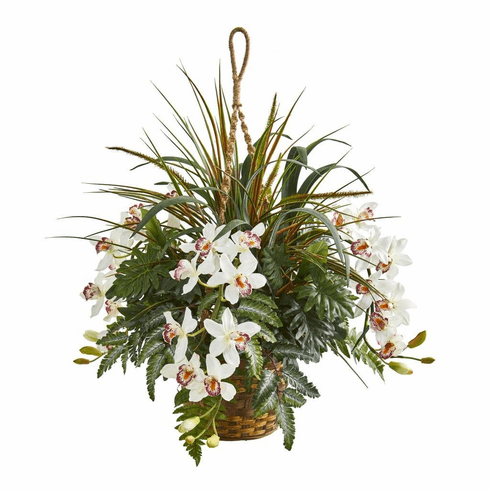 """29"""" Cymbidium Orchid and Mixed Greens Artificial Plant Hanging Basket"""