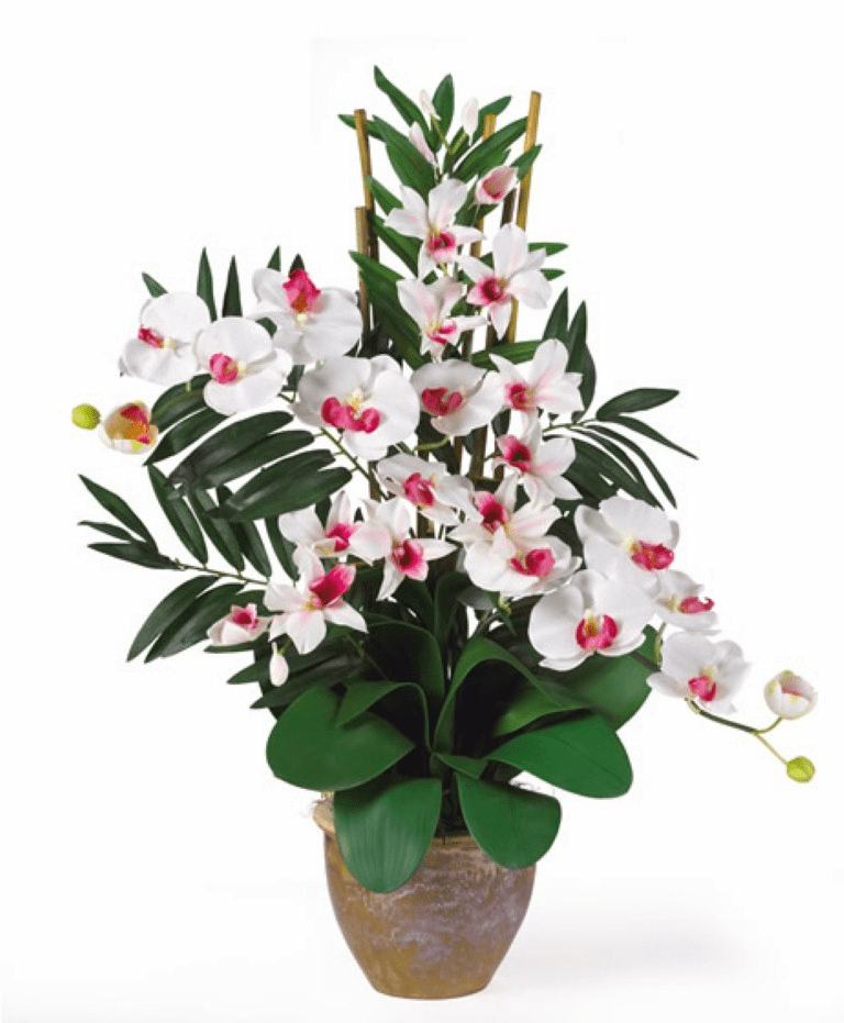 "29"" Double Phalaenopsis & Dendrobium Orchid Silk Flower Arrangement"