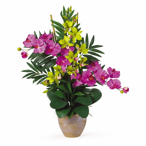 "29"" Double Phalaenopsis & Dendrobium Silk Flower Arrangement"