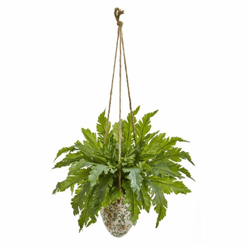 "29"" Fern Artificial Plant in Hanging Vase"