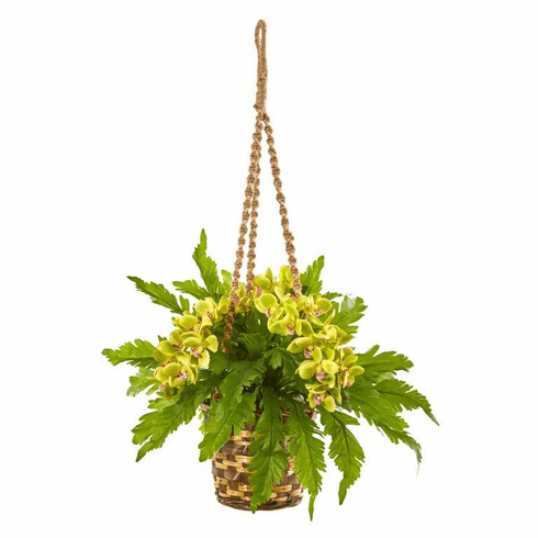 """29"""" Phalaenopsis Orchid and Fern Artificial Plant in Hanging Basket - Green"""