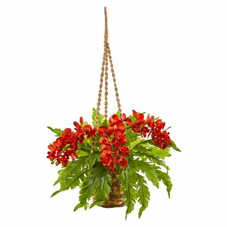 29� Phalaenopsis Orchid and Fern Artificial Plant in Hanging Basket - Orange