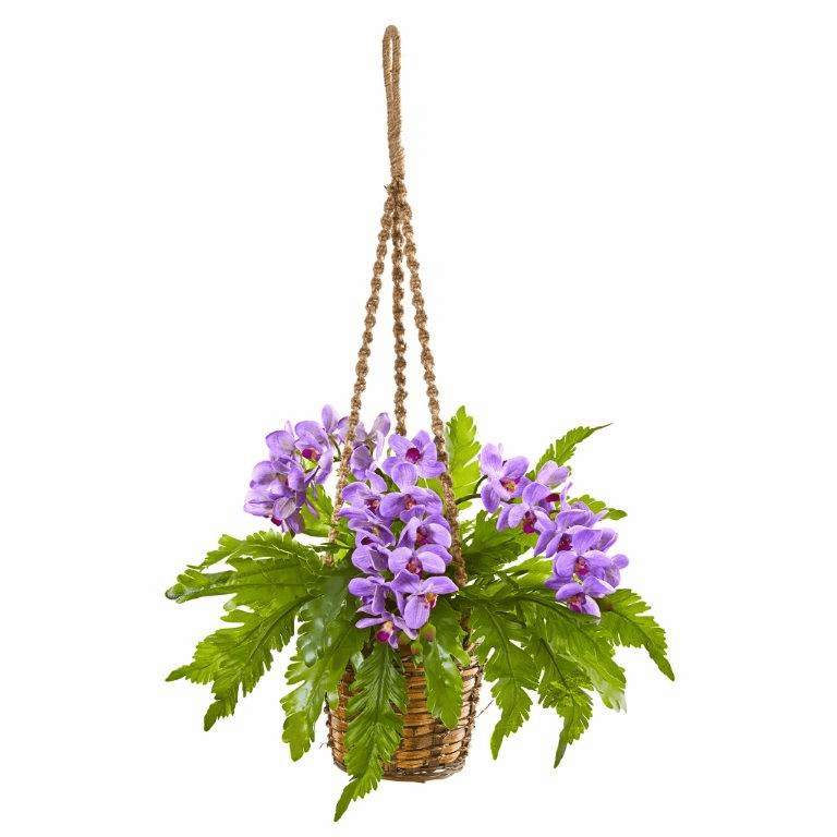29� Phalaenopsis Orchid and Fern Artificial Plant in Hanging Basket - Purple