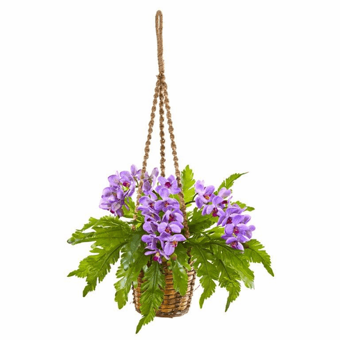 "29"" Phalaenopsis Orchid and Fern Artificial Plant in Hanging Basket - Purple"
