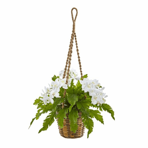 """29"""" Phalaenopsis Orchid and Fern Artificial Plant in Hanging Basket - White"""