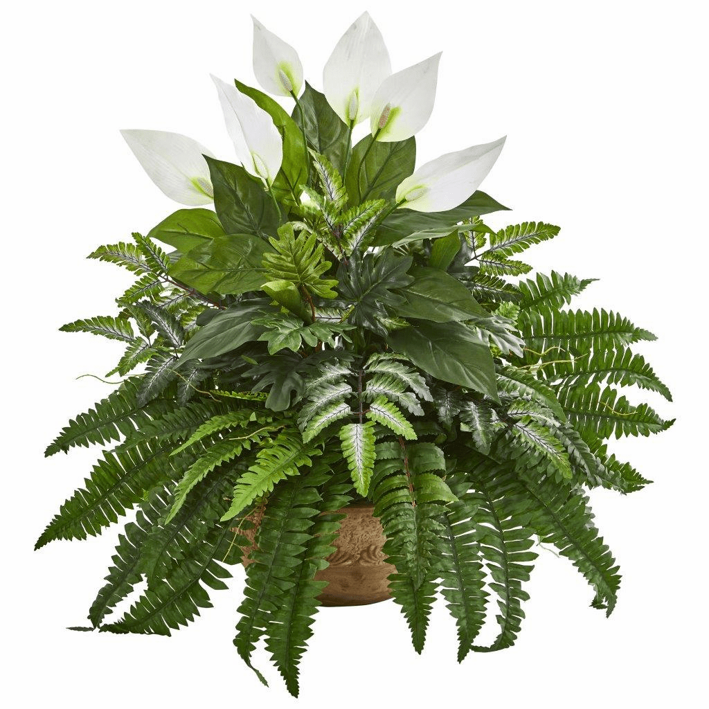 29� Spathifyllum and Fern Artificial Plant in Planter