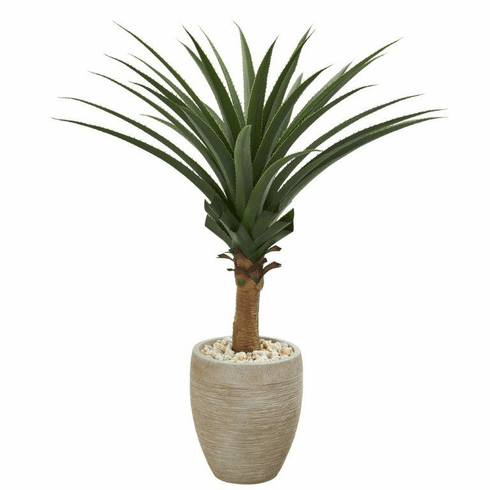 3.5' Agave Artificial Plant in Sand Colored Planter