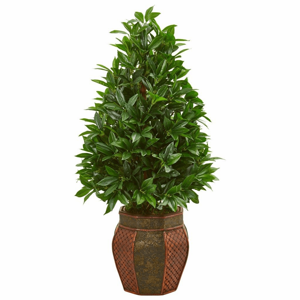 3.5� Bay Leaf Cone Topiary Artificial Tree in Decorative Planter