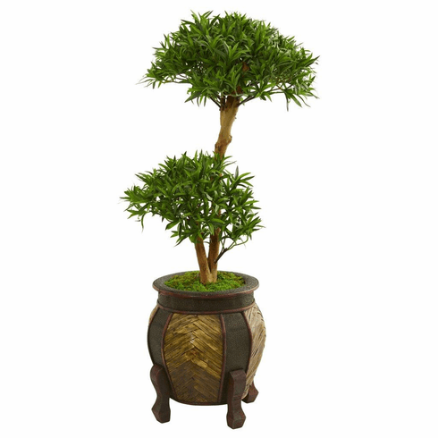 3.5' Bonsai Styled Podocarpus Artificial Tree in Decorative Planter