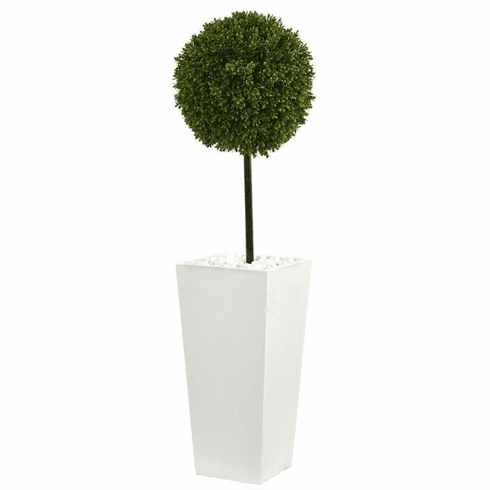 3.5' Boxwood Ball Topiary Artificial Tree in White Tower Planter UV Resistant (Indoor/Outdoor) -